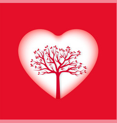 paper art of heart and tree vector image