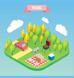picnic in a park isometric objects vector image vector image
