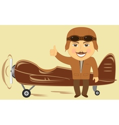 plane with pilot showing thumb up vector image