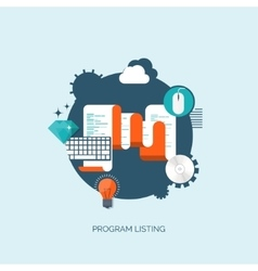 Program listing flat vector