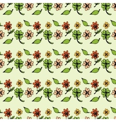 Seamless pattern of leaves and flowers vector image