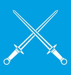 swords icon white vector image vector image