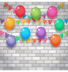 balloon and party flags on brickwall background vector image