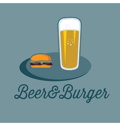 beer and burger on the table vector image