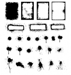 splattered ink and grunge frame vector image vector image