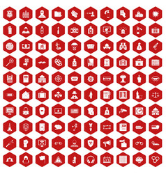 100 crime icons hexagon red vector