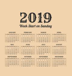 2019 year vintage calendar weeks start on sunday vector