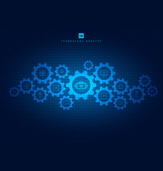 abstract integrated gears and icons technology vector image