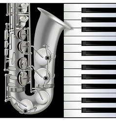 abstract musical background with saxophone and vector image