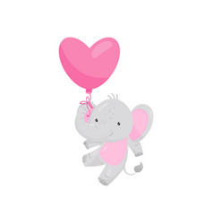 adorable elephant flying with pink heart-shaped vector image