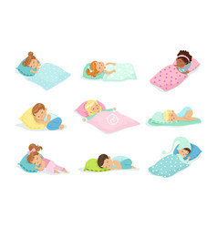 adorable little boys and girls sleeping sweetly in vector image
