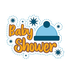 baby shower label with a hat vector image