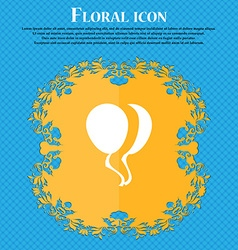 Balloon Icon sign Floral flat design on a blue vector