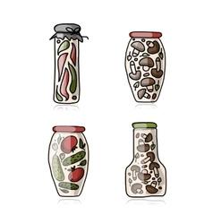 Bank of pickled vegetables sketch for your design vector