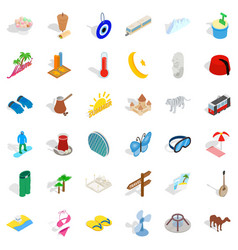 Big vacation icons set isometric style vector