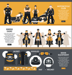 Bikers banners set vector
