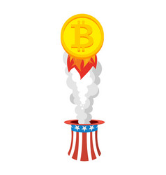 bitcoin rocket flies out of hat of uncle sam vector image