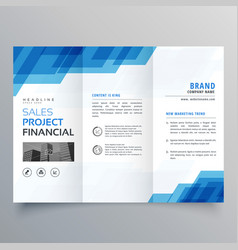 blue geometric trifold business brochure design vector image
