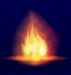 burning bonfire hot flickering flame with vector image
