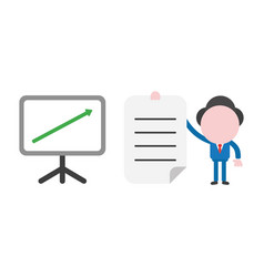 businessman character with sales chart arrow vector image