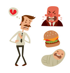 Businessman heart risk man heart attack stress vector