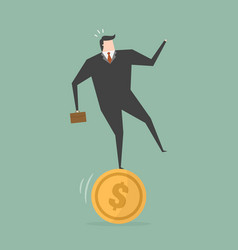 businessman stand on coin vector image