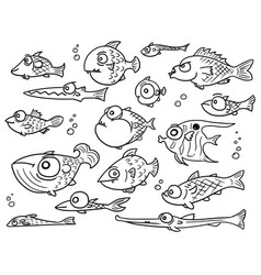 Cartoon collection set of hand drawn cute fish vector