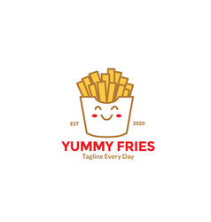 Cartoon french fries cute smile for fast food vector