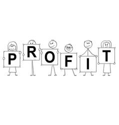 cartoon of businessmen and businesswomen holding vector image