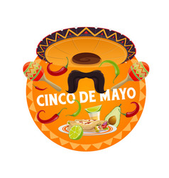 Cinco de mayo round banner fiesta party vector