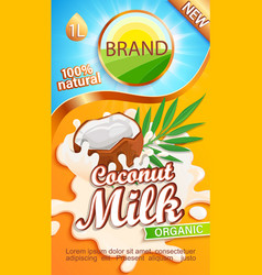 Coconut milk label for your brand vector
