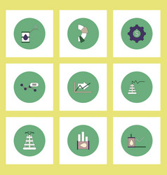collection of icons in flat style fuel and energy vector image