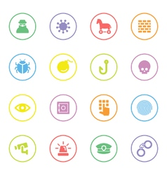 Colorful flat icon set 7 with circle frame vector