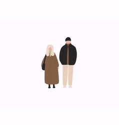 couple in warm clothes flat winter season vector image