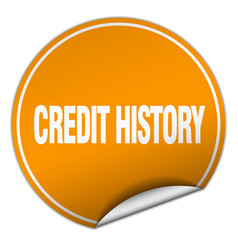 Credit history round orange sticker isolated on vector