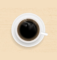 Cup of coffee on wooden table top view vector