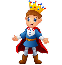 cute boy prince with red cloak vector image