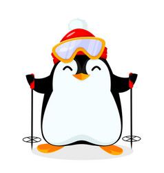 Cute little penguin goes skiing vector