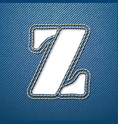 Denim jeans letter Z vector image
