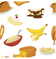 desserts types banana and bread bakery pattern vector image