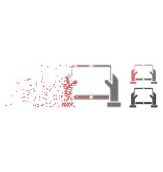 Disintegrating pixel halftone hands hold tablet vector