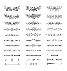 doodle dividers hand drawn line borders and vector image