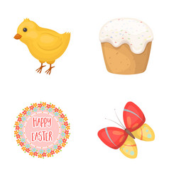 Easter cake chicken butterfly and greeting sign vector