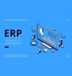 Erp enterprise resource planning isometric landing vector