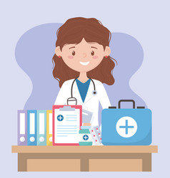 Female physician with kit first aid medical report vector