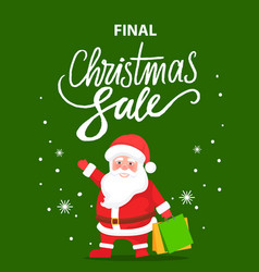 final christmas sale santa claus with presents vector image
