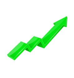 financial arrow up green shiny 3d graph vector image