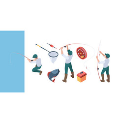 fishing isometric fisherman with spinning in vector image