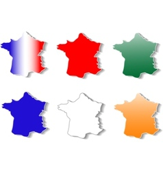 Form of france map stickers set vector