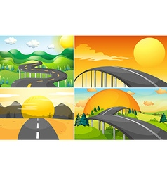 Four scenes of road to the countryside vector